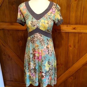 Warm floral flowery turquoise blue dress